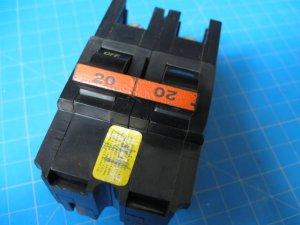 "Used FEDERAL PACIFIC  Stab-Lok FPE 20 Amp 2 Pole 2"" Wide BREAKER"