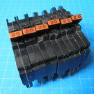 Set Of SIX  20 AMP Single Pole Thin Federal Pacific FPE Breakers Type NC Chipped