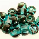 25 5 x 9mm Czech Glass Roll Beads: Teal Tortoise
