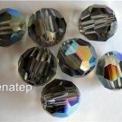 3 6mm Swarovski 5000 Crystal Rounds -- Black Diamond AB