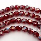 50 4mm Czech Glass Beads: Ruby - Celsian