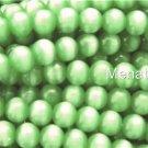 25 8mm Fiber Optic Cats Eye Beads -- Light Green