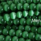 25 8mm Fiber Optic Cats Eye Beads -- Green