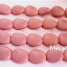 25 12x9 mm Czech Glass Twisted Flat Ovals: Oraque Pink