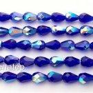 25 7x5 mm Czech Glass Teardrops: Cobalt AB