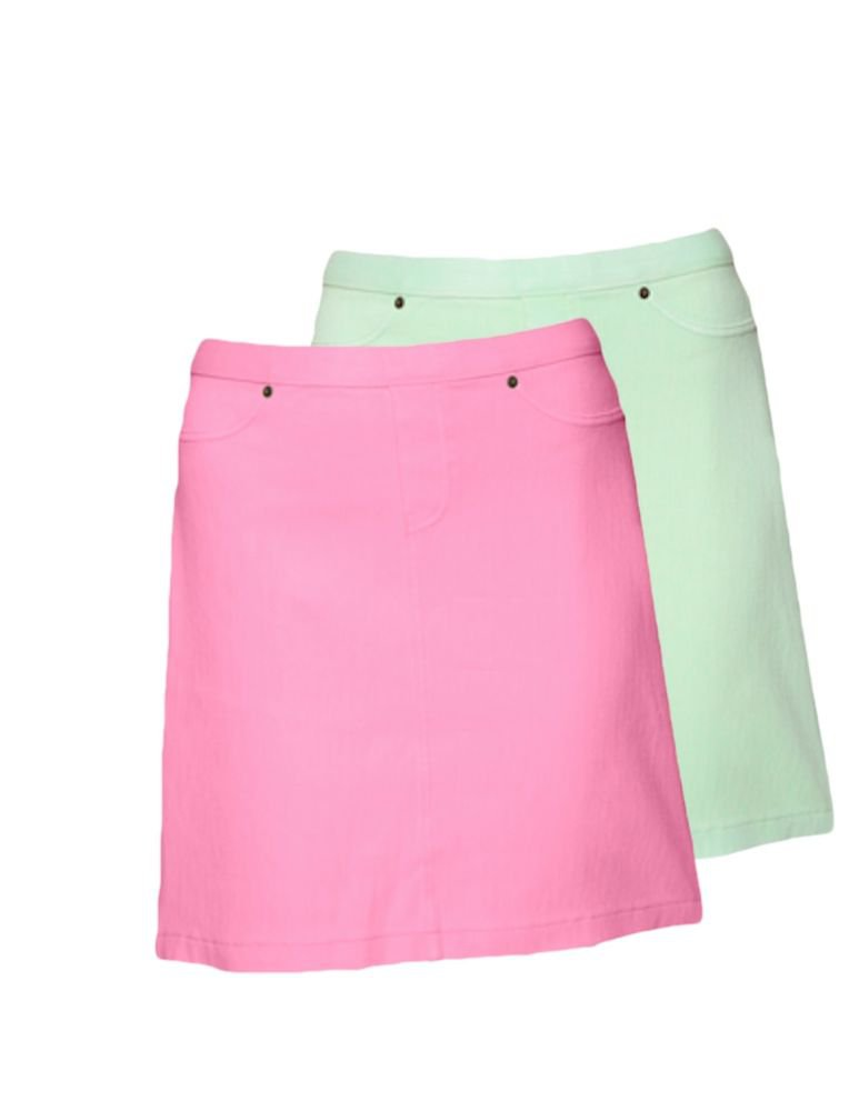 Hue Chinos A-Line Skirt, U13663H, NEON GREEN or NEON PINK (2 Colors)
