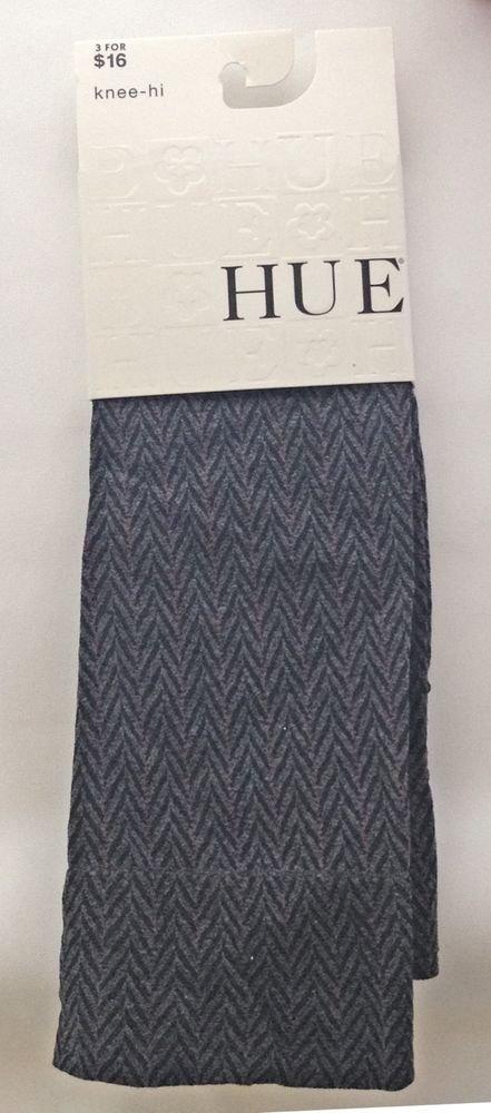 Hue Pinstripe Herringbone, Geometric, Knee-High Socks- BLACK, 7-9
