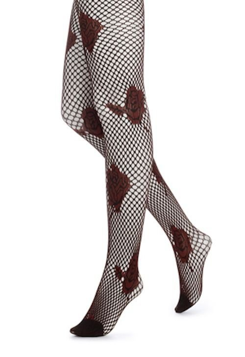Hue Tights, Floral Net Tights, Polyester/Spandex, U13023,RED ROSES, MEDIUM/LARGE