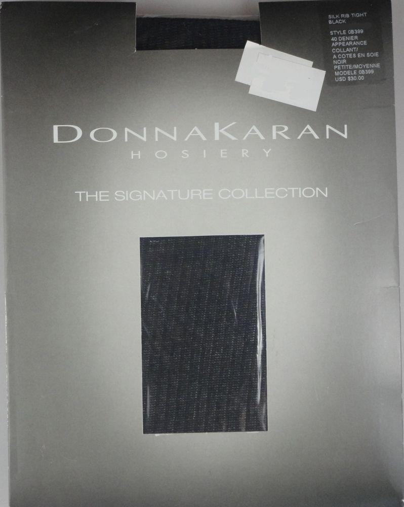Donna Karan-Signature Collection Hosiery- Silky Rib Tights- OB399- BLACK-S/M