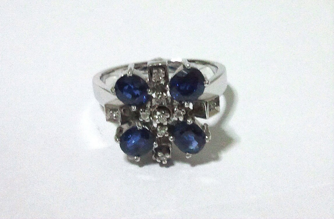 1973 Antique Blue Sapphire Silver Ring