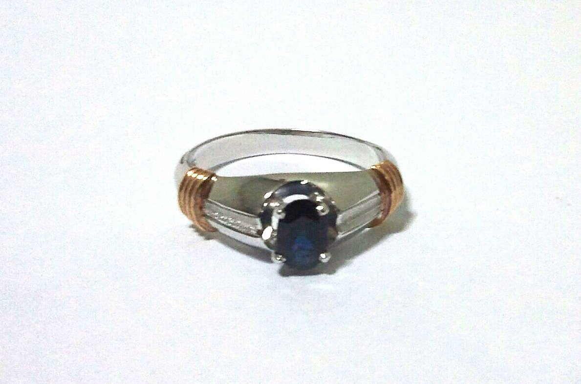 *Antique White Gold 585 Blue Sapphire and Striped 14K Gold (1976)
