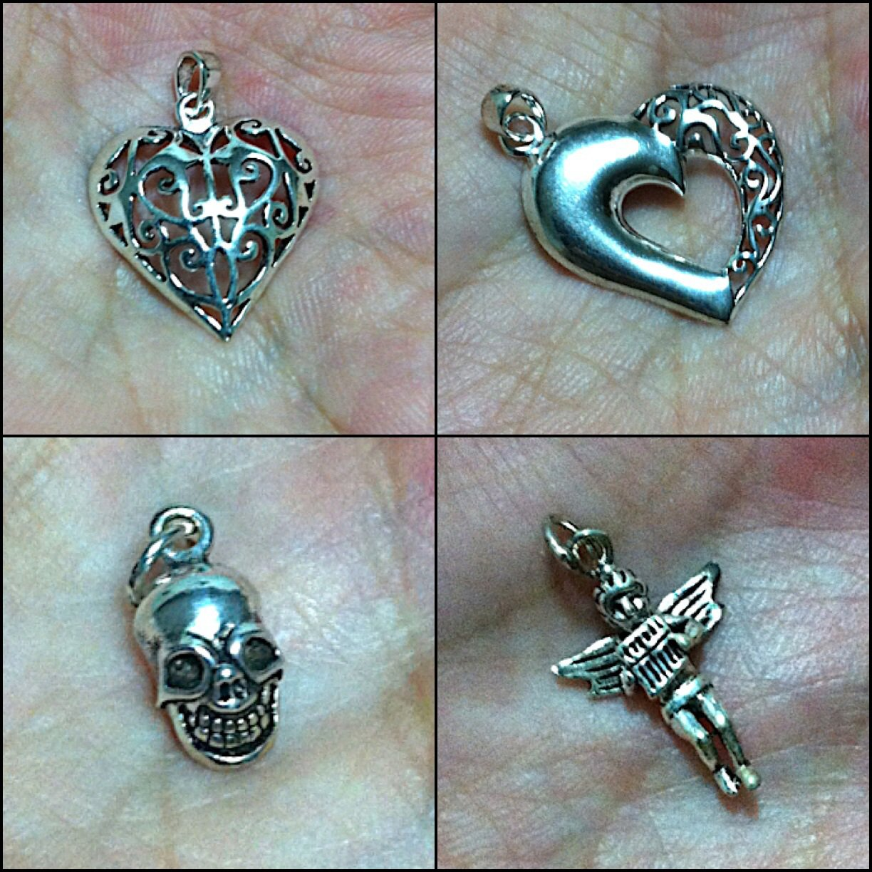 Mixed Set 4 Silver 925 Pendant Collections Skull, Heart, Cupid