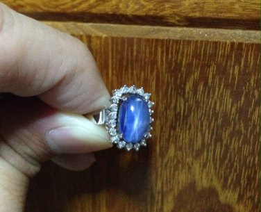 1973 Antique oval blue star sapphire white gold 18k Diamonds Ring
