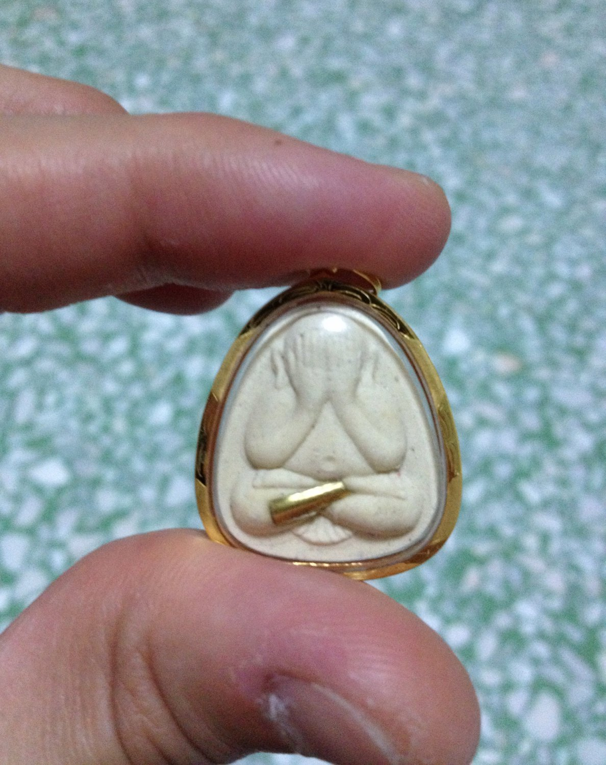 Phra Paid Ta Buddha with tiny rolled Brass Amulet 18K Gold Case Amulet Pendant