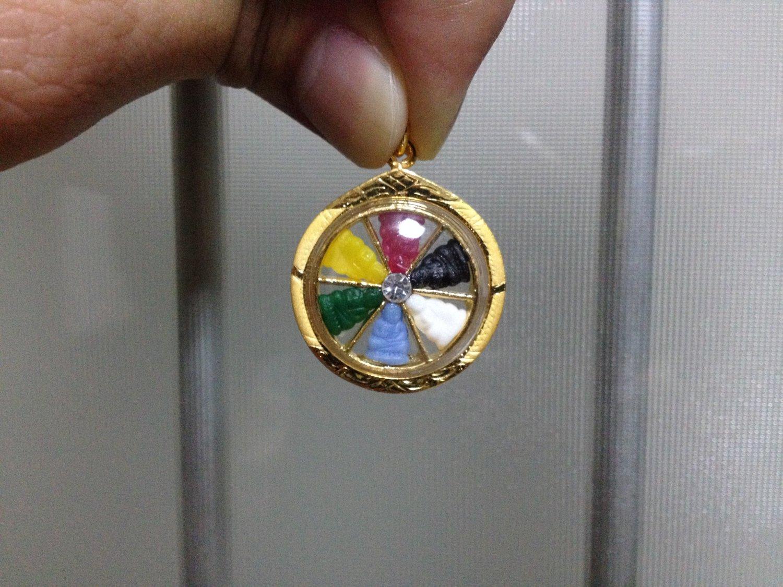 6 Multicolor Buddha Handmade 3 Micron Gold Circle Pendant