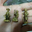 1978 Rare Antique Bronze Brass Figures from Thailand (3 pieces)