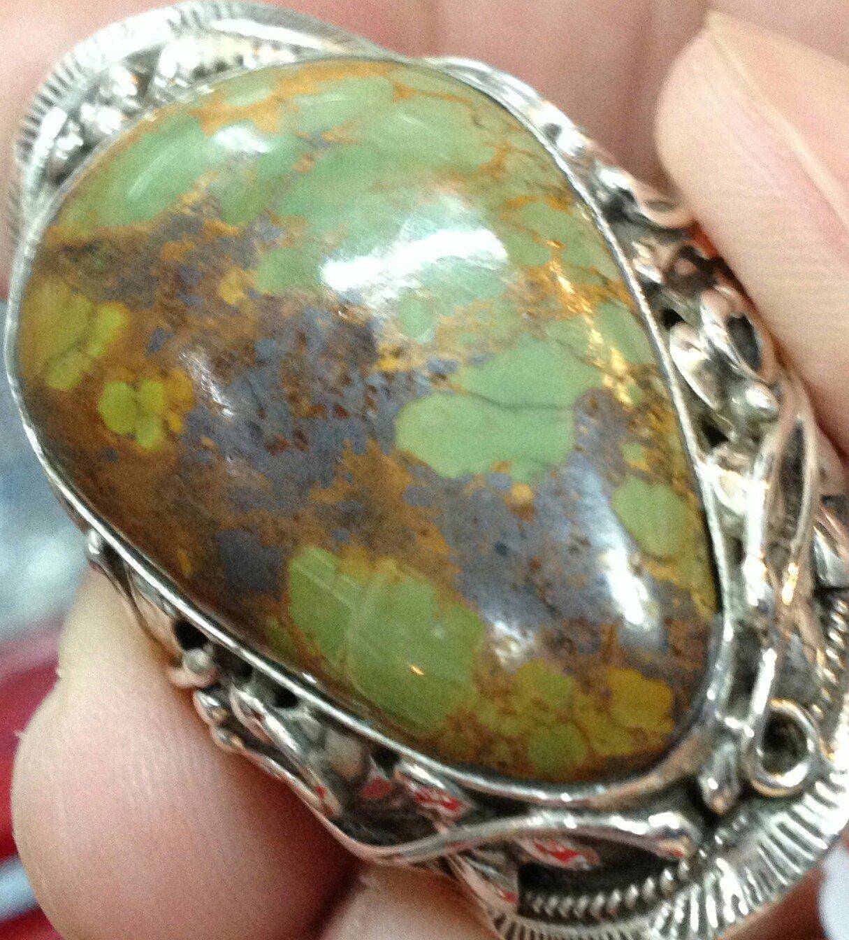 1978 Genuine Antique Stone & Silver 925 Vintage Retro Ring