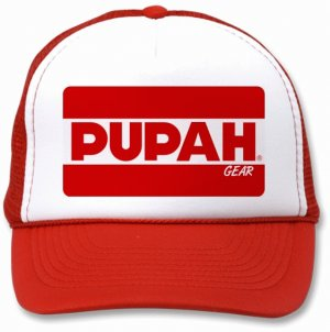 PUPAH- White & Red Trucker Cap