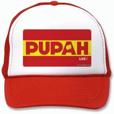 PUPAHLIVE !- White & Red Trucker Cap