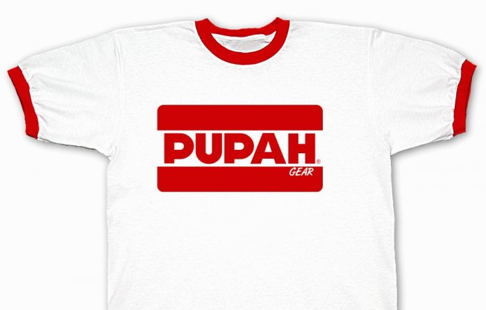 PUPAH White & Red Trim T-Shirt-Official