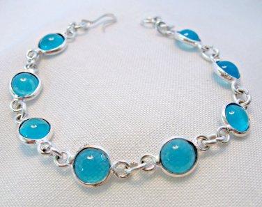 Blue Chalcedony Bracelet for Girls or Small Wrist