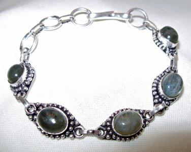 Labradorite Bracelet with 925 Sterling Silver Overlay
