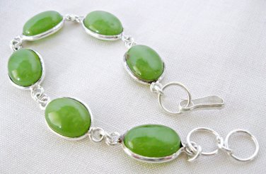 Green Gaspeite Bracelet with Sterling Silver Overlay