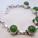 Green Chalcedony Bracelet with Sterling Silver Overlay