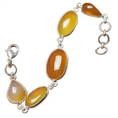 Yellow Chalcedony Bracelet with Sterling Silver Overlay