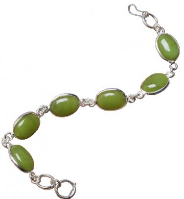 Green Chalcedony Bracelet and Sterling Silver Overlay