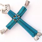 Turquoise Blue Horseshoe Nail Cross Necklace