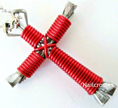 Bright Red - Horseshoe Nail Cross Necklace, Disciples Cross, Nail Cross with Chain