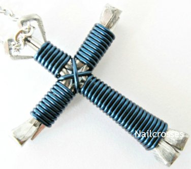 Navy Blue - Horseshoe Nail Cross Necklace, Disciples Cross, Nail Cross with Chain