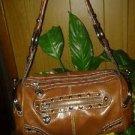 BROWN leather Kathy van zeeland leather HANDBAG, PURSE WOMEN'S PURSE