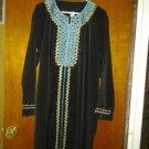 BLACK abaya jelbab gown embrodried  size 2X Large,SAUDI ABAYA,EGYPTION ABAYA