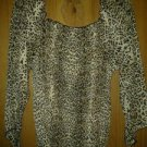 Blue. Diamond. Chiffon blouse v cute top for her size 1X