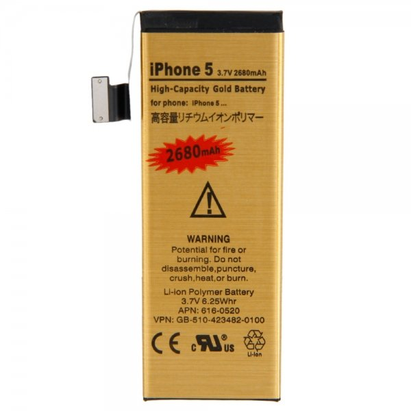 2680 mAh Gold Apple Iphone 5 Battery High Capacity Replacement