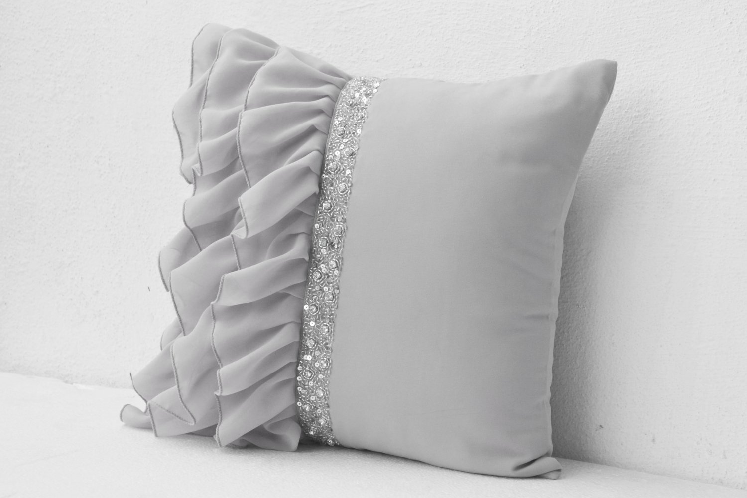 Silver grey ruffled sequin throw pillow - 16X16 Decorative Pillow - Gray cushion cover - Gift Pillow