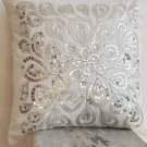 Ivory white throw pillow with sequin - Flower sequin - Silver Pillow