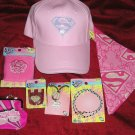 Huge Lot Superman SuperGirl Jewelry, Hat, Bandana,Purse