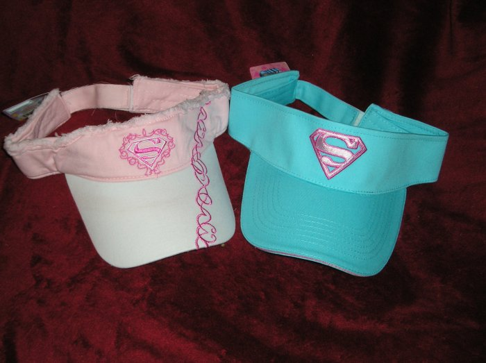 Lot of Two Superman/Supergirl Visors/Hats New NWT