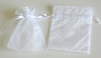 "3"" x 4"" White Organza Favor Bags - 12 pack"