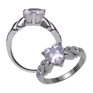 Sterling Silver CZ Diamond Heart Ring ~ Size 7