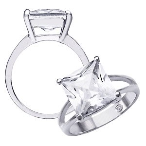 Sterling Silver CZ Diamond Solitaire Ring ~ Size 7