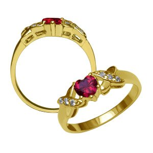 Ruby Cross My Heart Ring ~ Size 7