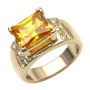 Citrine & CZ Diamond Ring ~ Size 7
