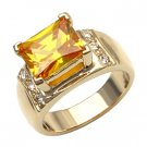 Citrine & CZ Diamond Ring ~ Size 5
