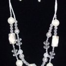 Handcrafted Ivory Bead Necklace & Earring Set