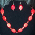 Handmade Red Beaded Necklace & Earring Set
