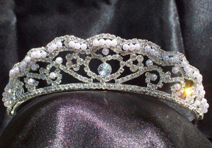 *Sale* Swarovski Rhinestone & Pearl Queen's Heart Tiara